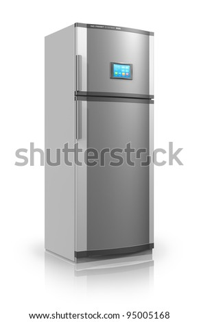 Modern metallic refrigerator with touchscreen interface isolated on white reflective background - stock photo
