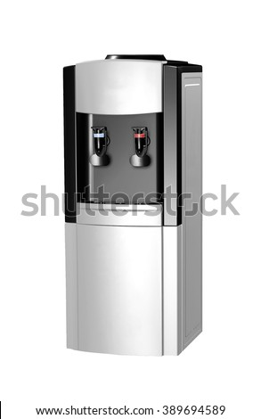 modern metallic water cooler isolated - stock photo