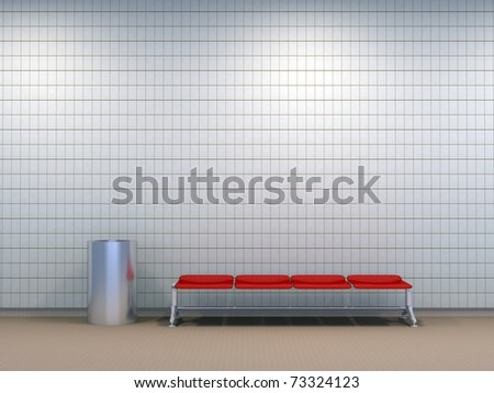 Modern metro station with white tile wall - 3d illustration - stock photo