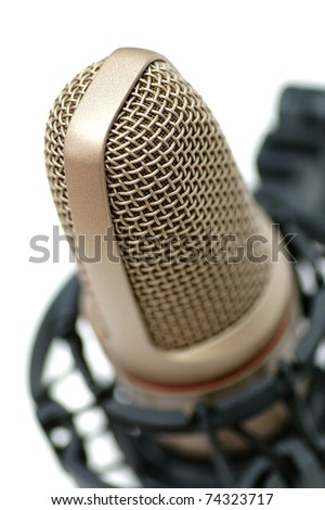 Modern microphone isolated on a white background