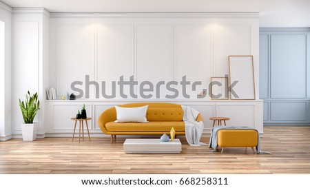 Modern Mid Century Room Interior , Yellow Sofa With Frame Mock  Up On White  Room