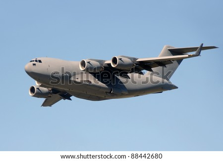 Modern military jet for heavy cargo - stock photo