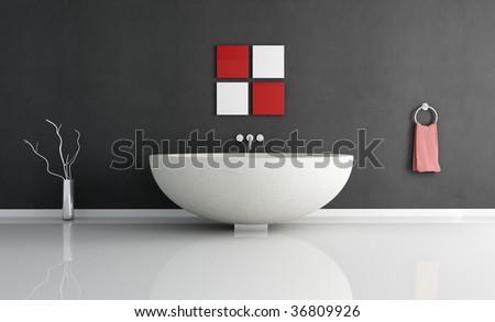 modern minimal bathroom with fashion sandstone round bathtub - stock photo