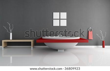 modern minimal bathroom with fashion white and red round bathtub - stock photo