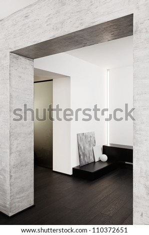 Modern minimalism style corridor interior in black and white tones - stock photo