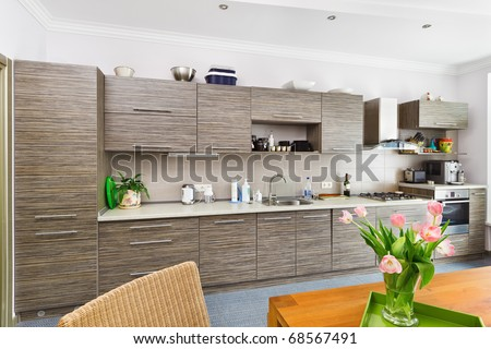 Modern minimalism style Kitchen interior with patterned gray furniture - stock photo
