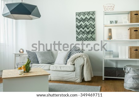 Modern minimalist design of bright living room - stock photo
