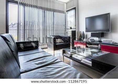 Modern minimalist interior design in black and white style - stock photo