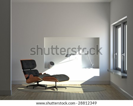 Modern minimalist interior with lounge chair and desk lamp (3D render)