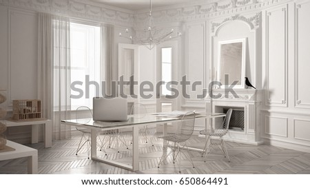 Industrial interior office design 3d illustration stock for Vintage minimalist interior design