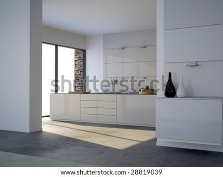 Modern minimalist white kitchen (3D render) - stock photo