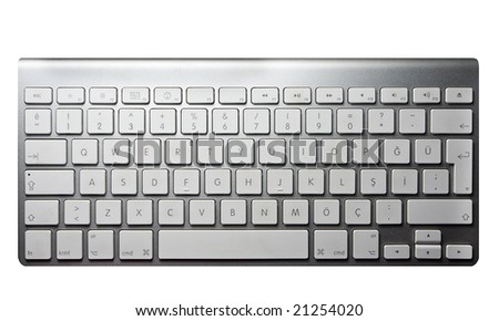 Modern minimalistic keyboard isolated on white