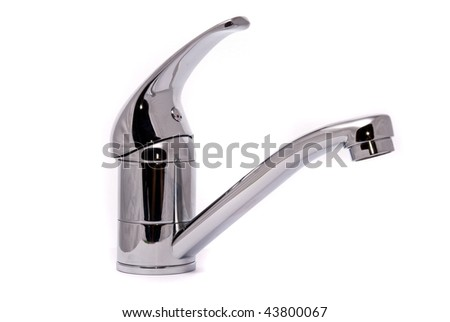Modern mixer tap isolated on a white background