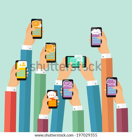 Modern mobile instant messenger chat poster with hands and smartphones  illustration - stock photo