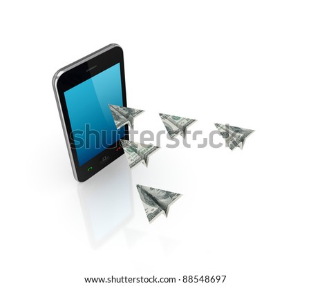 Modern mobile phone and airplanes made of dollars.Isolated on white background.3d rendered. - stock photo