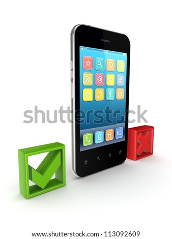 Modern mobile phone between tick and cross marks.Isolated on white background.3d rendered. - stock photo