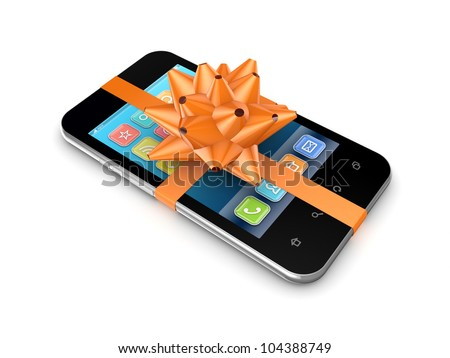 Modern mobile phone decorated with an orange ribbon. Isolated on white background.3d rendered.