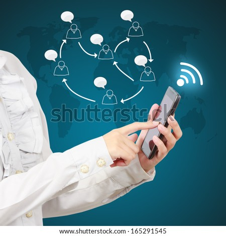 Modern mobile phone in a  businessman hand. Communications of digital business. - stock photo