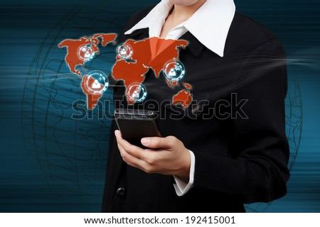 Modern mobile phone in a  businessman hand. Communications of digital business.