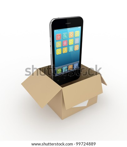 Modern mobile phone in a carton box.Isolated on white background.3d rendered. - stock photo