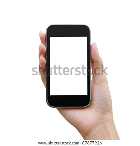 Modern mobile phone in a woman's hand isolated - stock photo