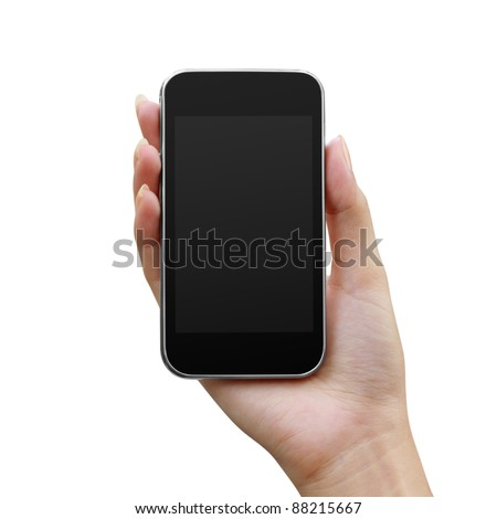 Modern mobile phone in a woman's hand isolated on white background - stock photo