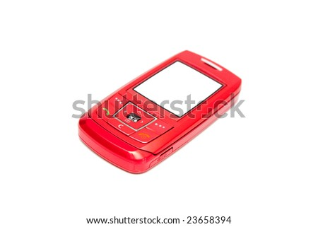 modern mobile phone isolated on white - stock photo