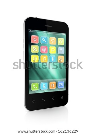 Modern mobile phone.Isolated on white.3d rendered.