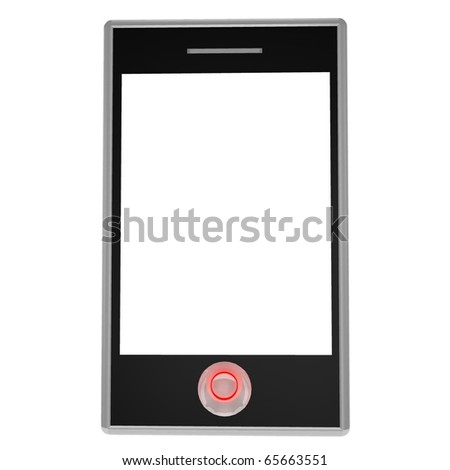 modern mobile phone on a white background - stock photo