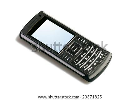 modern mobile phone on white background - stock photo