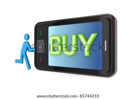 Modern mobile phone with big word BUY.Isolated on white background.3d rendered. - stock photo
