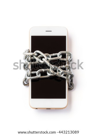 Modern mobile phone with chain locked isolate on white background with clipping path. Concept of social network issues, forgot password, information security, phubbing, addiction - stock photo