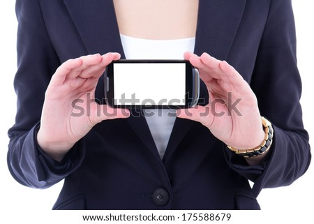 modern mobile phone with copyspace in female hands - stock photo