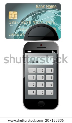 Modern Mobile phone with Credit Card on a white background. (Mini mobile terminal) - stock photo
