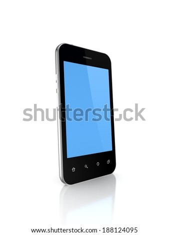Modern mobile phone with empty screen.Isolated on white.3d rendered. - stock photo