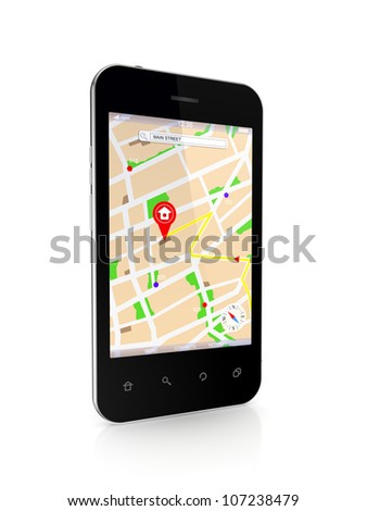 Modern mobile phone with GPS navigator.Isolated on white background.3d rendered.