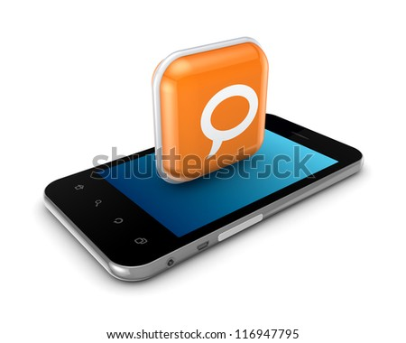 Modern mobile phone with icon of speaking.Isolated on white background.3d rendered.