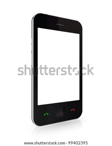 Modern mobile phone with touchscreen.Isolated on white background.3d rendered.