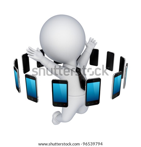 Modern mobile phones around happy 3d person.Isolated on white background.