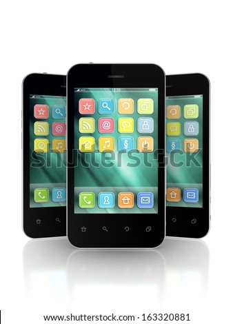 Modern mobile phones.Isolated on white.3d rendered. - stock photo