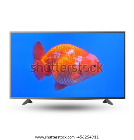 modern monitor isolated on white with clipping path - stock photo
