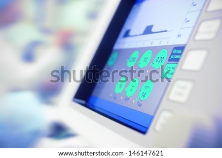 modern monitor of scientific device in hospital use. medical science - stock photo