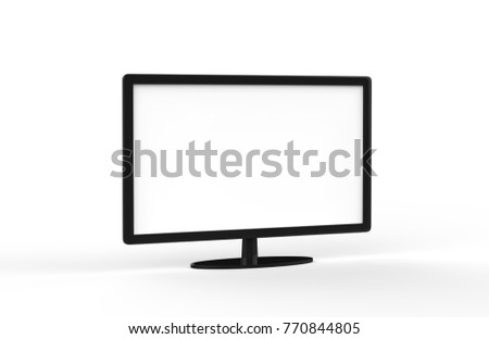Modern Monitor Screen, TV On Isolated White Background, 3D Illustration