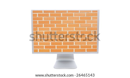 Modern monitor with the image of a brick wall background isolated on white - stock photo