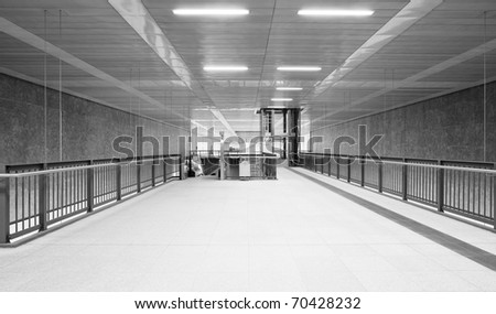 Modern monochrome underground station - stock photo
