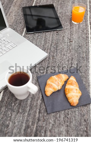 Modern Morning News With Touchscreen - stock photo