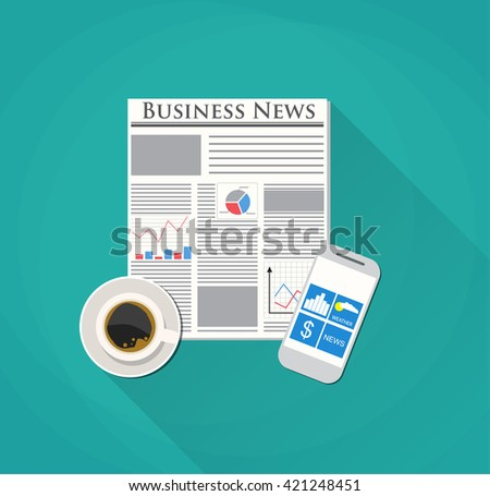 Modern morning. Newspaper, pencil and coffee. icon news. Morning business elements. illustration in flat design on blue backgound for business concept. Raster version