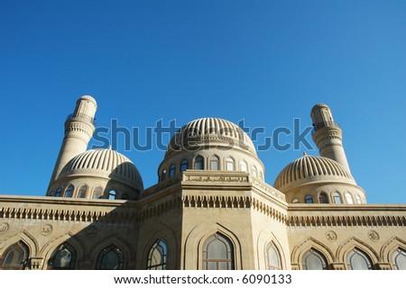 Modern mosque and minaret in Baku, Azerbaijan - more similar photos in my portfolio - stock photo
