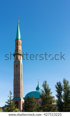 modern mosque in the city of Elabuga, Russia - stock photo