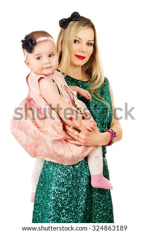 modern mother holding a baby - stock photo